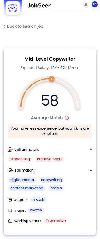 Match Score JobSeer