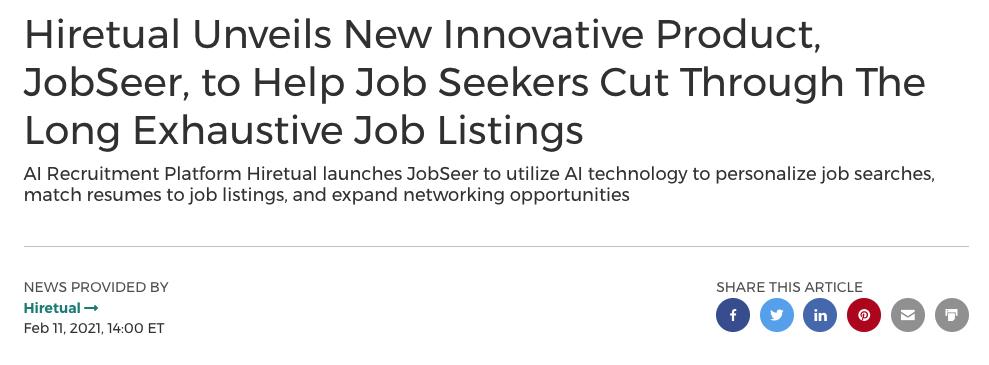 Hiretual Launches JobSeer