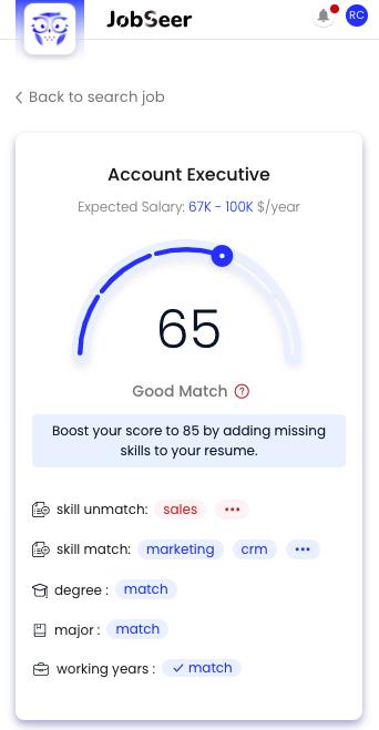 JobSeer match score